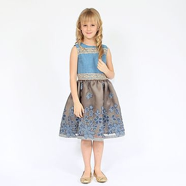 Работы для детей, ручной работы. Ярмарка Мастеров - ручная работа Нарядное платье для девочки серо-голубое из шелка и тафты с вышивкой. Handmade.