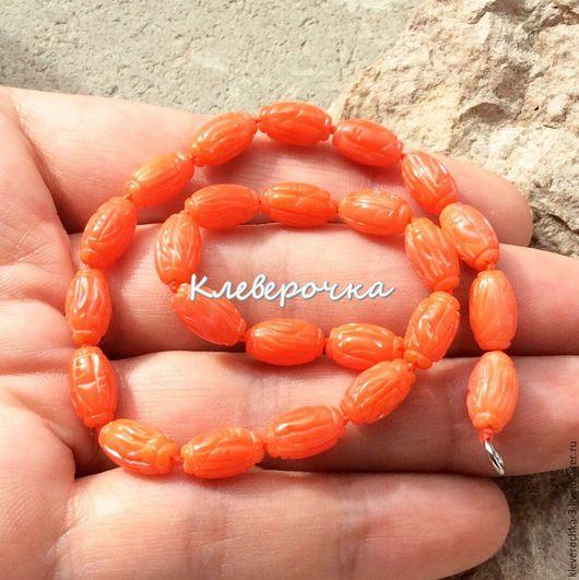 Для украшений ручной работы. Ярмарка Мастеров - ручная работа. Купить .Коралл 10 мм челнок резной оранжевый натуральный бусины д.украшений. Handmade.
