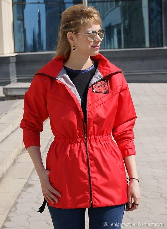 Fashion women's trench coat Cranberry red windbreaker oversized, Wind Jackets, Novosibirsk, Фото №1