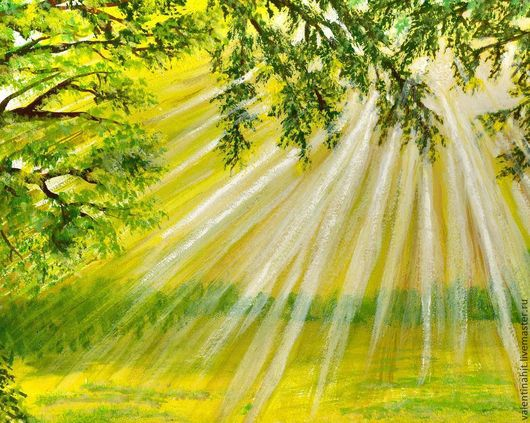 """Пейзаж ручной работы. Ярмарка Мастеров - ручная работа. Купить картина """"Солнечная поляна"""" (салатовый, желтый). Handmade. Картина, ландыши"""