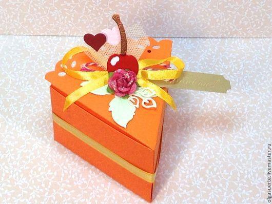 Подарки для влюбленных ручной работы. Ярмарка Мастеров - ручная работа. Купить Кусочек торта (упаковочная коробочка ручной работы). Handmade.