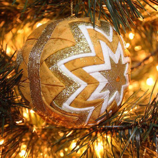 Новый год 2017 ручной работы. Ярмарка Мастеров - ручная работа. Купить Золотой елочный шар, текстильная игрушка артишок, новогоднее украшение. Handmade.