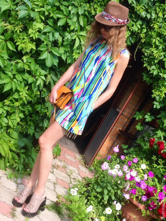 Платья ручной работы. Ярмарка Мастеров - ручная работа. Купить Мини платье трапеция из хлопка. Handmade. Разноцветный, минимализм