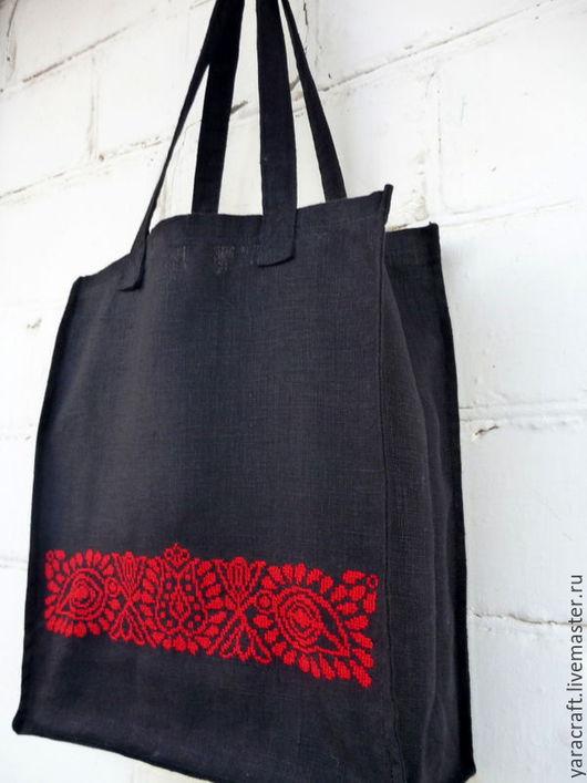 """Сумки и аксессуары ручной работы. Ярмарка Мастеров - ручная работа. Купить Эко-сумка """"Красное и черное"""". Handmade. Черный"""