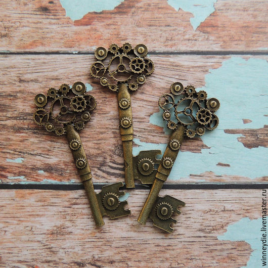 Для украшений ручной работы. Ярмарка Мастеров - ручная работа. Купить Подвеска ключ. Handmade. Золотой, бронза, античная бронза