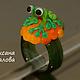 Кольцо женское 17 `Зелный лягушонок`,  стекло, подарок подруге