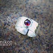 Украшения handmade. Livemaster - original item Forged ring with garnet. Handmade.