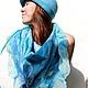 """Шляпы ручной работы. Ярмарка Мастеров - ручная работа. Купить валяный комплект """"Синий туман"""". Шляпка +бактус. Handmade. Шляпка"""