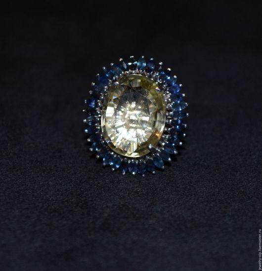 Кольца ручной работы. Ярмарка Мастеров - ручная работа. Купить Роскошное кольцо - бриллиантовый лимонный кварц и сапфиры. Handmade.