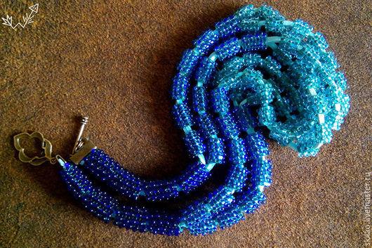 Колье, бусы ручной работы. Ярмарка Мастеров - ручная работа. Купить Бусы из бисера Океаническая волна. Handmade. Морская волна