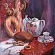 Натюрморт ручной работы. Ярмарка Мастеров - ручная работа. Купить Натюрморт чайный Конфетки, бараночки... Ручная работа, живопись маслом. Handmade.