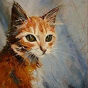 Картина маслом Рыжий Кот. Авторская картина масло, холст
