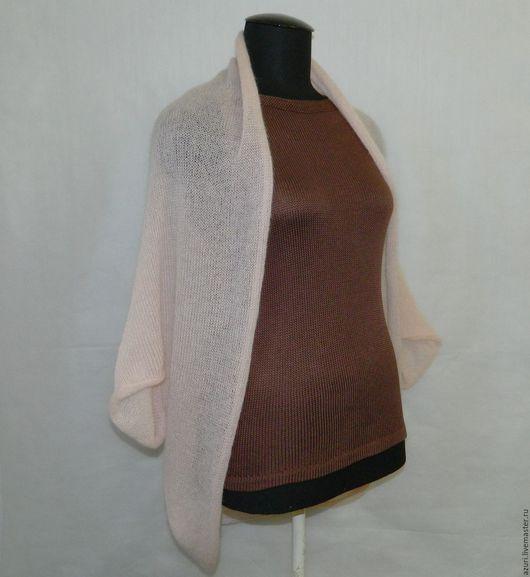 Кофты и свитера ручной работы. Ярмарка Мастеров - ручная работа. Купить Вязаная накидка из кид-мохера светло-розовая. Handmade.