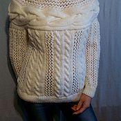 Одежда ручной работы. Ярмарка Мастеров - ручная работа Белый свитер с поперечной полосой. Handmade.