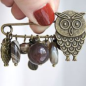 handmade. Livemaster - original item Owl Pin Brooch with agate botswana. Handmade.