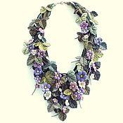 Украшения handmade. Livemaster - original item Lilac Hops. Necklace made of genuine leather. Handmade.