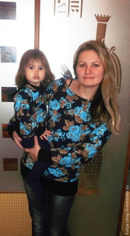 Блузки ручной работы. Ярмарка Мастеров - ручная работа. Купить Толстовки для мамы и дочки трикотажные. Handmade. Разноцветный, толстовка женская