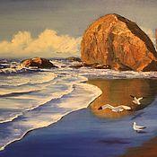 """Картины и панно ручной работы. Ярмарка Мастеров - ручная работа Картина маслом на холсте, морской пейзаж, море, пляж """"Мокрый песок"""". Handmade."""