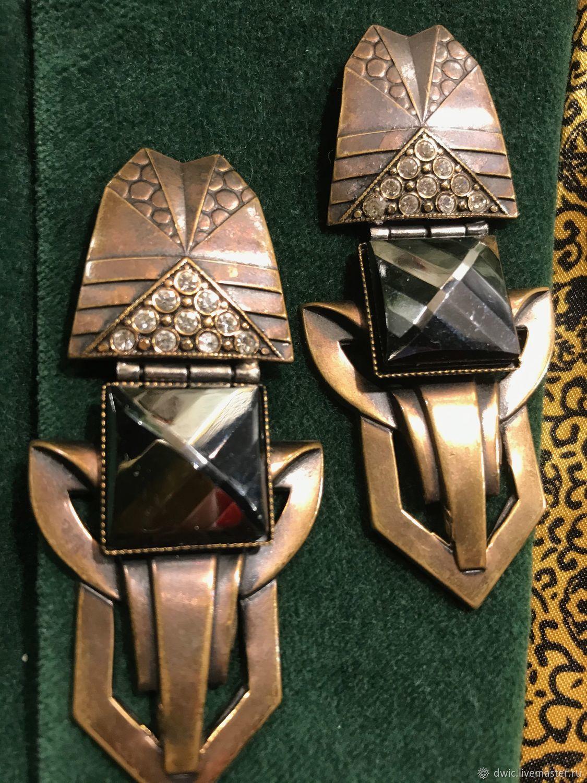 Ermani Bulatti clips, Art Deco, handmade, Holland, Vintage earrings, Arnhem,  Фото №1