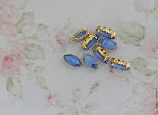 Для украшений ручной работы. Ярмарка Мастеров - ручная работа. Купить Винтажные кристаллы 15х7мм стразы цвет синий с вкраплениями белого. Handmade.