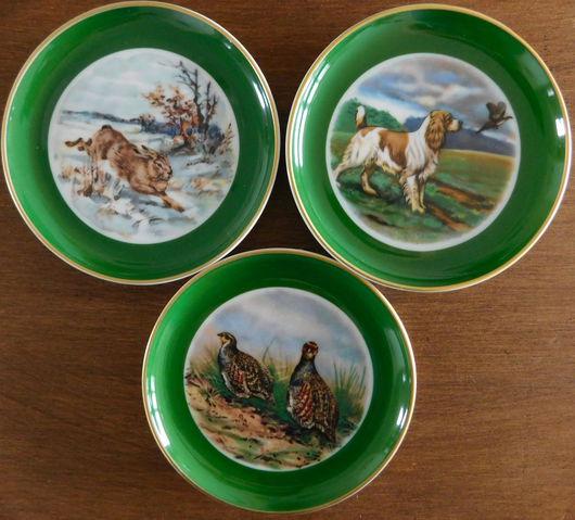 Винтажные предметы интерьера. Ярмарка Мастеров - ручная работа. Купить Три коллекционные тарелочки от Keiser 60-ые. Handmade. Зеленый