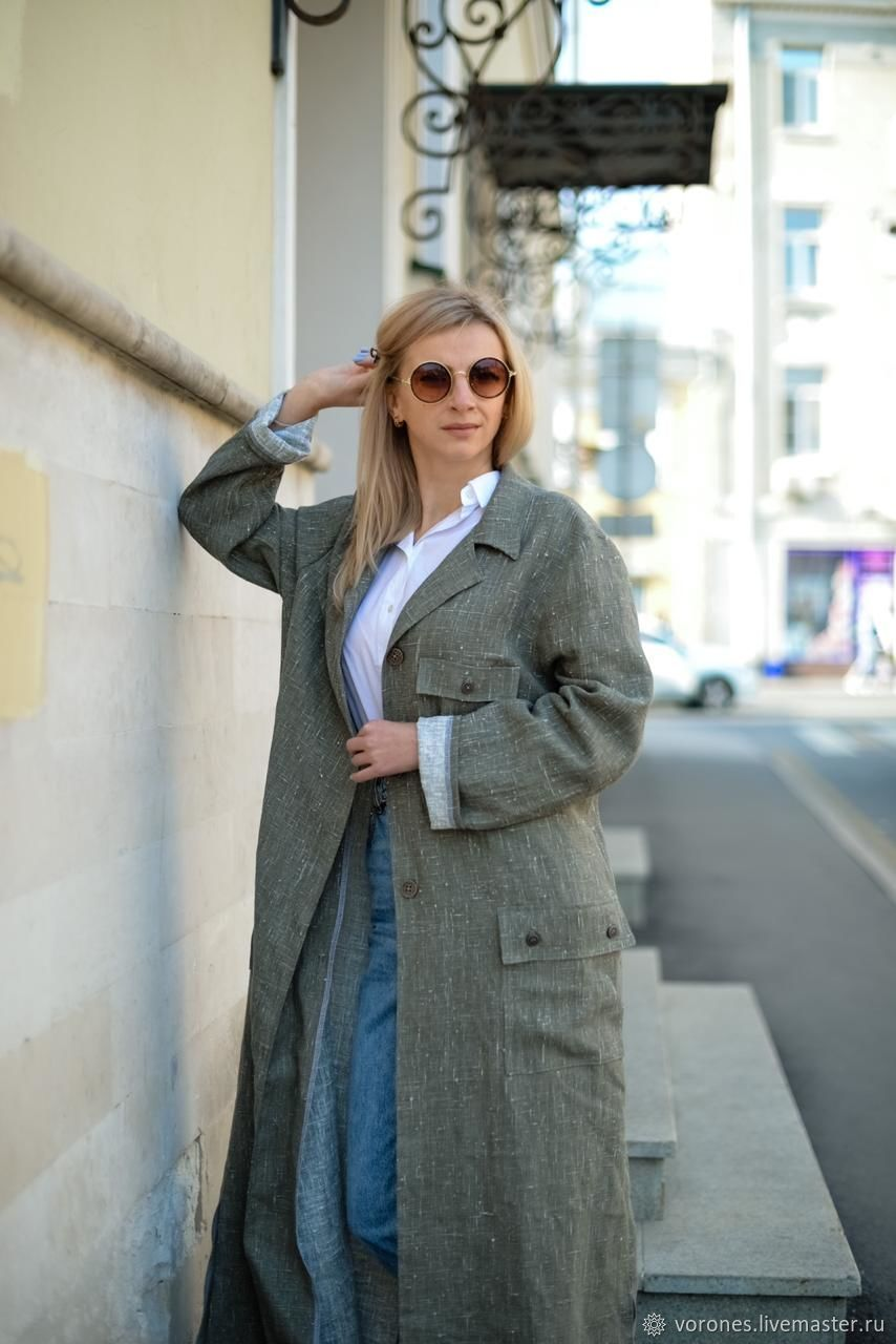 Khaki linen coat. Summer coat Maxi. The effect of the wash, Suit Jackets, Moscow,  Фото №1