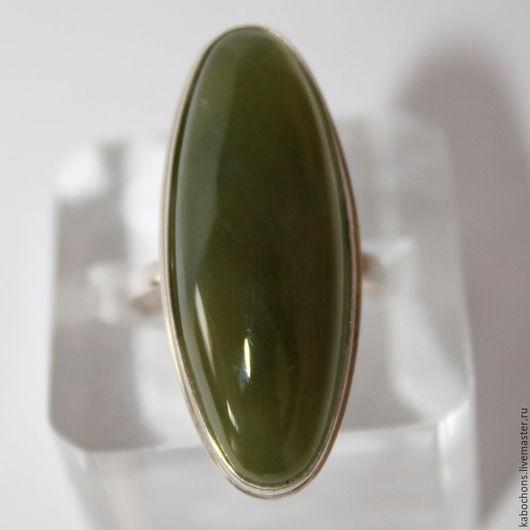 """Кольца ручной работы. Ярмарка Мастеров - ручная работа. Купить Кольцо """"Для радости"""" НЕФРИТ. Handmade. Тёмно-зелёный"""