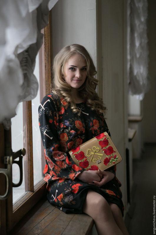 """Платья ручной работы. Ярмарка Мастеров - ручная работа. Купить Платье""""Floral Rhapsody""""в стиле DG. Handmade. Цветочный, платье трикотажное"""