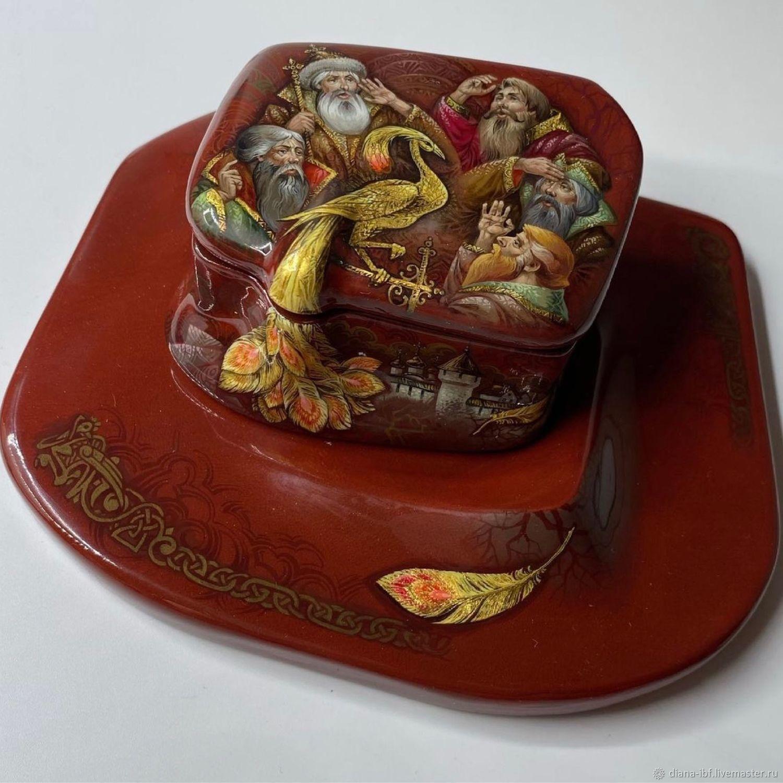 Шкатулка с лаковой миниатюрой «Жар-Птица», Шкатулки, Москва,  Фото №1