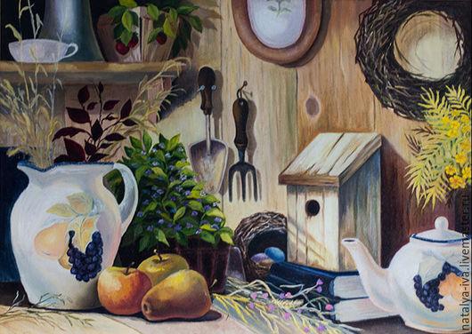 Картина маслом натюрморт `Дачный Прованс`. Картина маслом на холсте на оргалите. Автор Наталья Ива.