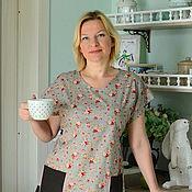 Одежда ручной работы. Ярмарка Мастеров - ручная работа Платье домашнее серое. Handmade.