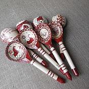 Русский стиль handmade. Livemaster - original item Wooden spoons painted. Mezen painting.Russian souvenir.. Handmade.