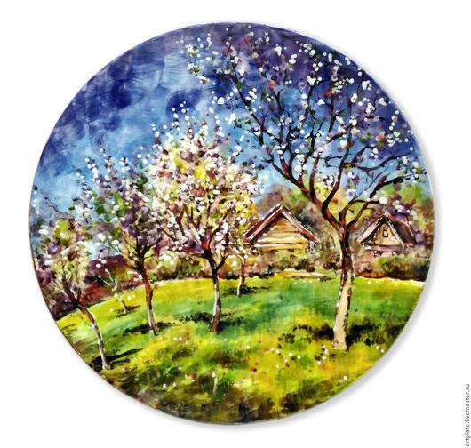 Керамическая тарелка `Весна`. Керамика ручной работы. Ярмарка мастеров.