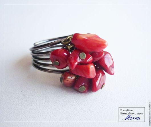 """Кольца ручной работы. Ярмарка Мастеров - ручная работа. Купить Кольцо с камнем,кольцо красное с кораллом """"Сердце мое"""". Handmade."""