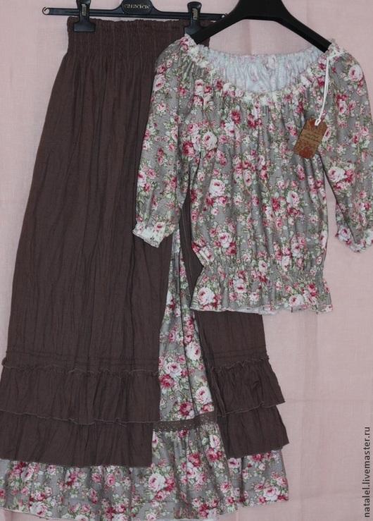 """Юбки ручной работы. Ярмарка Мастеров - ручная работа. Купить Юбка """"Утренние розы"""" и  блузка в стиле шебби-шик. Handmade."""