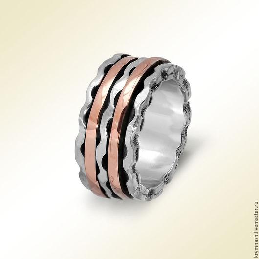 """Кольца ручной работы. Ярмарка Мастеров - ручная работа. Купить Кольцо """"Среди волн"""" из золота красного и серебра, широкое, размер 17,5. Handmade."""