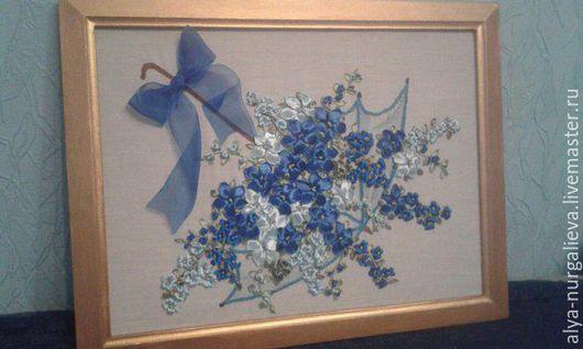 Картины цветов ручной работы. Ярмарка Мастеров - ручная работа. Купить Зонт с цветами. Handmade. Голубой, подарок девушке