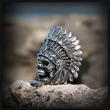 """Сувениры и подарки ручной работы. Ярмарка Мастеров - ручная работа Бусина """"Вождь индейцев"""" для темляков или браслетов мельхиор. Handmade."""