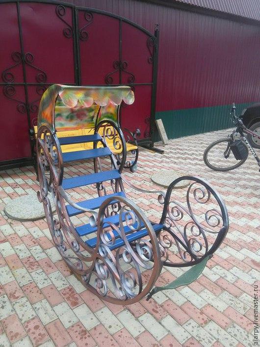 Экстерьер и дача ручной работы. Ярмарка Мастеров - ручная работа. Купить Кованная кресло-качалка. Handmade. Тёмно-синий, качалка