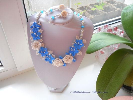 Комплекты украшений ручной работы. Ярмарка Мастеров - ручная работа. Купить Колье с  розами и лилиями  Праздник каждый день. Handmade.
