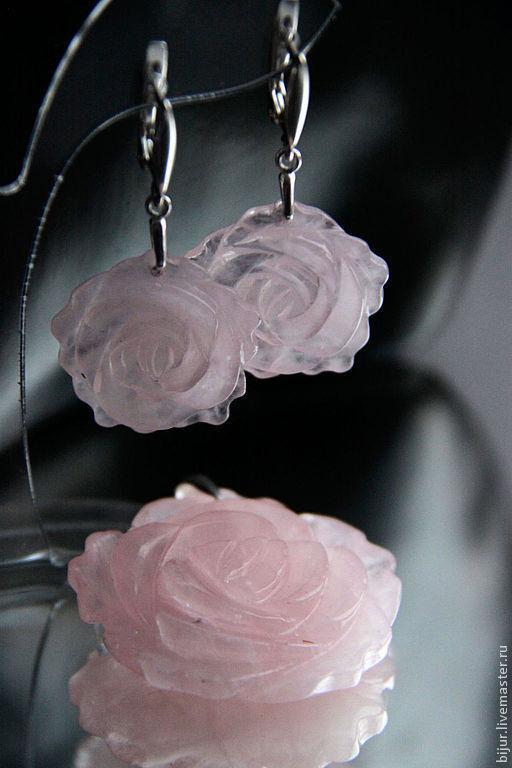 Комплекты украшений ручной работы. Ярмарка Мастеров - ручная работа. Купить Серебряный Комплект из розового кварца серьги и подвеска. Handmade.