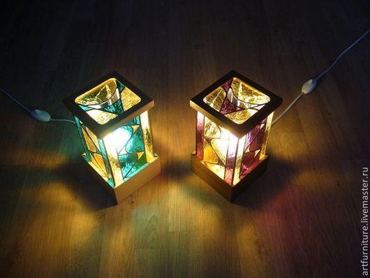Освещение ручной работы. Ярмарка Мастеров - ручная работа. Купить Витражный светильник фонарь электрический - подарок для дома. Handmade. Светильник