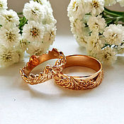 handmade. Livemaster - original item Wedding couple rings Mountain gold 585 (Ob11). Handmade.