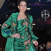 """Одежда ручной работы. Ярмарка Мастеров - ручная работа Платье """"Изумрудная Орхидея"""" (в комплекте есть пальто со скид. Handmade."""