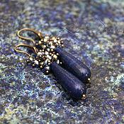 Украшения handmade. Livemaster - original item Earrings Luxurious blue of lapis lazuli and faceted blue beads drop earrings. Handmade.
