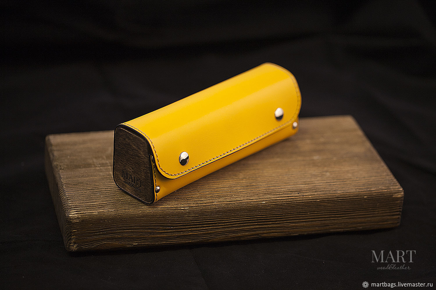 Case for your glasses made of yellow leather and wood. eyeglass case, Eyeglass case, St. Petersburg,  Фото №1