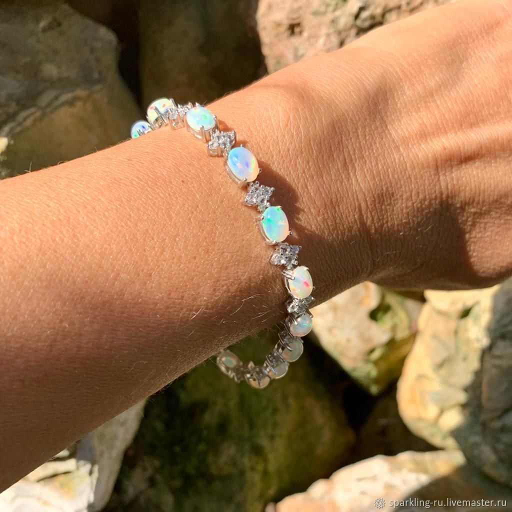 Silver bracelet with opals, Chain bracelet, Moscow,  Фото №1