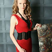 Одежда ручной работы. Ярмарка Мастеров - ручная работа Вязаное красное платье с открытой спиной. Handmade.