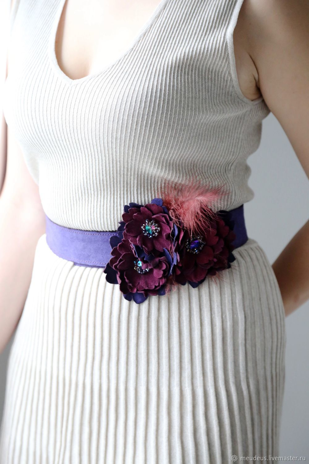 Belts handmade. Livemaster - handmade. Buy Waistband with flowers 'Francis'.Dark purple, strap with flowers