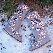 """Обувь ручной работы. Ярмарка Мастеров - ручная работа Валенки """"Зимняя сакура"""". Handmade."""